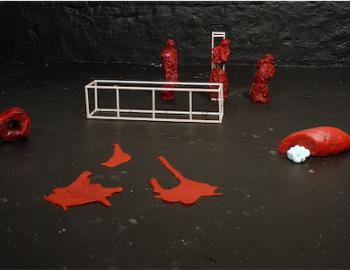 Annabelle Hyvrier, installation 2 et 3, bronzes peints, 80 : 80 cm pièce