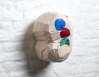 ans titre, 2019, cèdre, peinture, ht: 32 x 23 cm, Annabelle Hyvrier sculpture