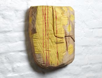 Sans titre, 2019, cèdre, peinture, ht: 41 x31cm, Annabelle Hyvrier sculpture