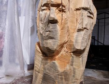 Annabelle Hyvrier, Woman with two heads, cedar and iron, Ht: 160cm, 2013
