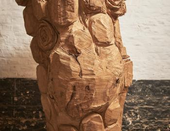 'It smells like love' 2019, ht: 200cm x 110 cm chestnut tree, iron